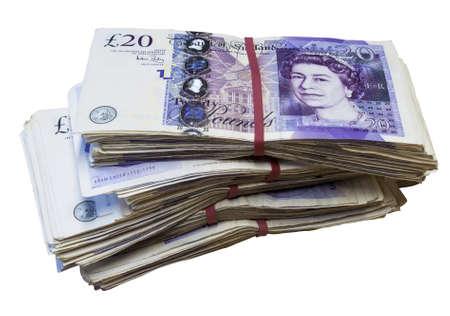 libra esterlina: Manojo de los equipos usados ??Reino Unido 20 veinte billetes de una libra Foto de archivo