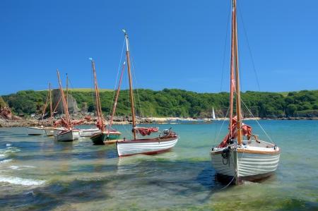 Varende boten bij Salcombe, Devon, Engeland Stockfoto