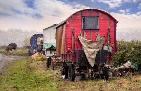 Gypsy Vardo, Cotswolds, Engeland Stockfoto