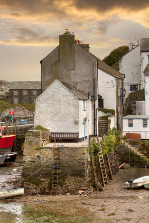estuary: The tide out at the historic fishing village of Polperro, Cornwall, England