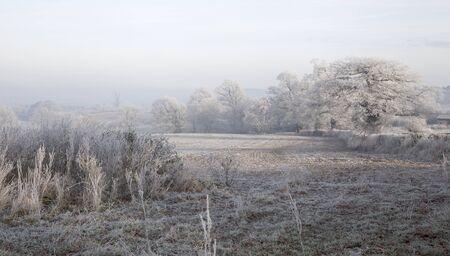 campagne rural: Paysage rural de givre pr�s de Chipping Campden, Gloucestershire, Angleterre Banque d'images