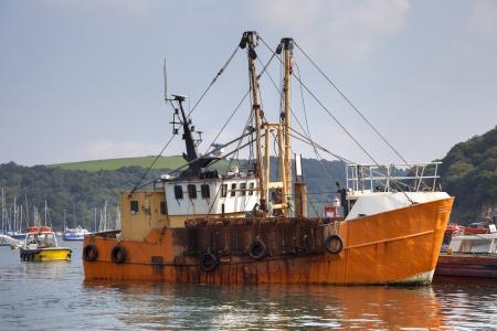 shrimp boat: Fishing boat at Polruan near Fowey, Cornwall, England  Stock Photo