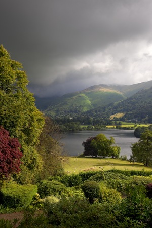 Dramatic sky over Grasmere, the Lake District, Cumbria, England Stock Photo - 24521071