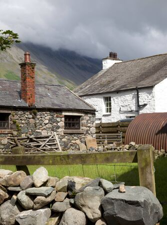 Traditional Lakeland stone farm, Wasdale Head, the Lake District, Cumbria, England  photo