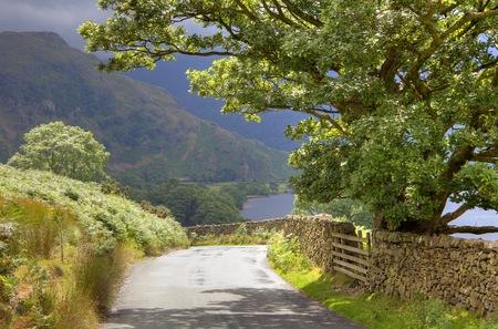 Quiet Lake District lane near Buttermere, Cumbria, England Stock Photo - 24521192