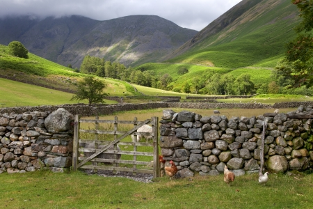 english countryside: Wasdale Head near Wast Water, the Lake District, Cumbria, England