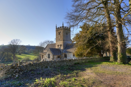 Cotswold church in winter, Gloucestershire, England. photo