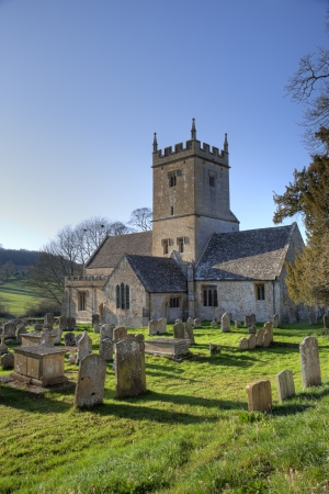 gloucestershire: Cotswold church in winter, Gloucestershire, England. Stock Photo