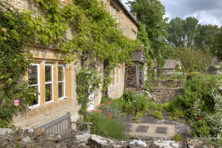 climbing plant: Pretty cottage gardens, Lower Slaughter, Gloucestershire, England.