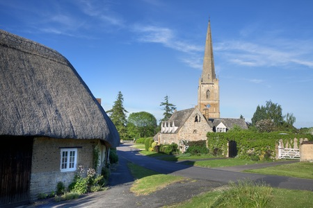 The tall church at Tredington, Warwickshire, England