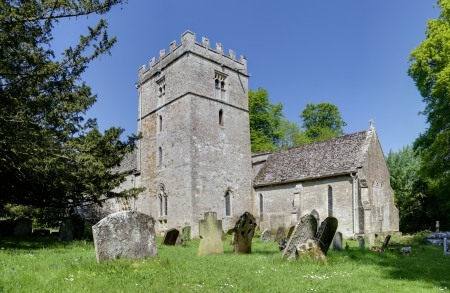 cotswold: 11th Century Cotswold church at Oddington, Gloucestershire, England