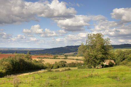 late summer: Cotswold landscape in late summer, Gloucestershire, England  Stock Photo