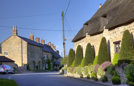 topiary: Clipped topiary outside thatched cottage, Broad Campden near Chipping Campden, Gloucestershire, England