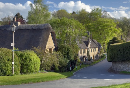 Thatched cottages in the Cotswold village of Broad Campden, Gloucestershire, England
