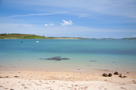 scilly: White sandy beach at Bryher, Isles of Scilly, Cornwall, England. Stock Photo