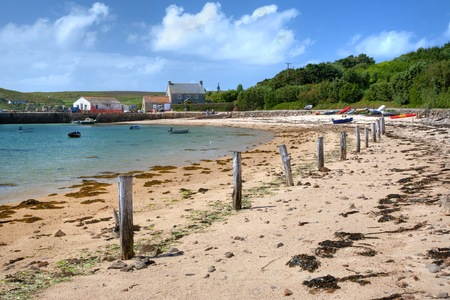 scilly: Looking towards the quay at New Grimsby, Tresco, Isles of Scilly, Cornwall, England.