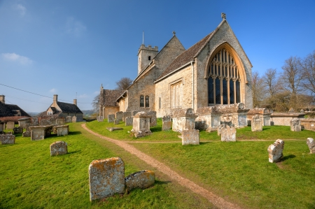 gloucestershire: The old church at Swinbrook, Gloucestershire, England.