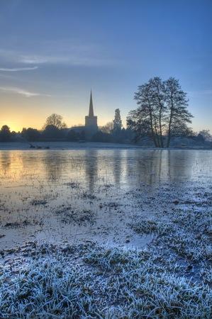 Las llanuras de inundación en Chaddesley Corbett, Worcestershire, Inglaterra.