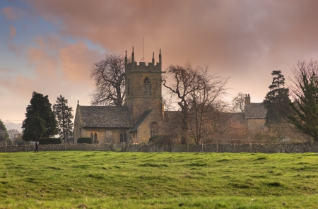 gloucestershire: The old church at Willersey, Gloucestershire, England. Stock Photo