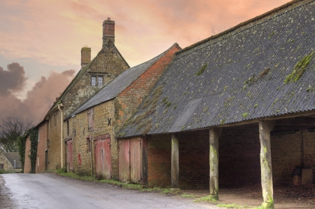 Old farm buildings at Winderton, Warwickshire, England. Stock Photo