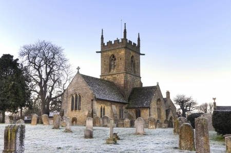 worcestershire: The old church at Willersey near Broadway, Gloucestershire, England.