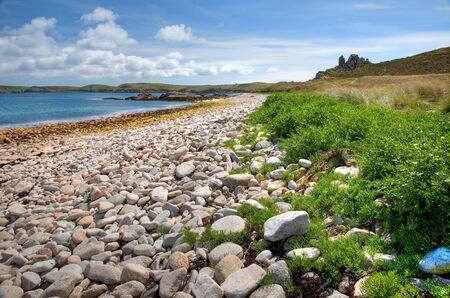 scilly: Pebble beach on the Cornish island of St Martin's, Isles of Scilly, England. Stock Photo
