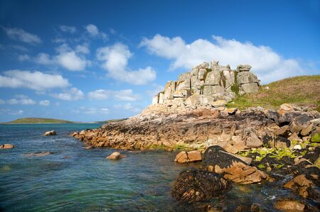 scilly: Interesting rock formations on Tresco, Isles of Scilly, Cornwall, England.