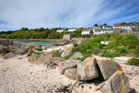 scilly: Pretty Porthcressa Beach on St Mary's, Isles of Scilly, Cornwall, England. Stock Photo