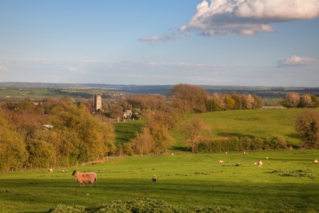 cotswold: Looking over rural Gloucestershire towards the Cotswold town of Chipping Campden, England.