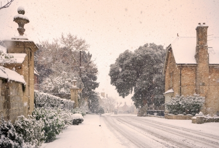 Cotswold high street in wintertime, Mickleton, Chipping Campden, Gloucestershire, England.