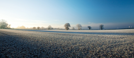 hoar frost: Hoar frost over the Gloucestershire countryside near Chipping Campden, England. Stock Photo