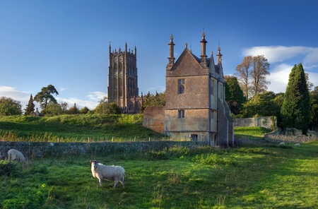 The historic Banqueting Hall and church at Chipping Campden, Gloucestershire, England.