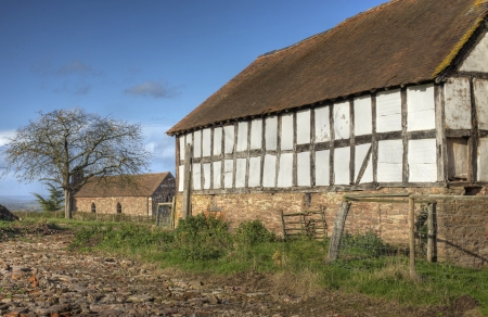 Timber-framed, wattle and daub barn at Hanley Childe, Worcestershire, England.