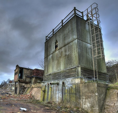 disused: Derelict factory, Kidderminster, England. Stock Photo