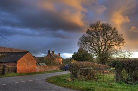 worcestershire: Farm at Bournes Green near Chaddesley Corbett, Worcestershire, England. Stock Photo