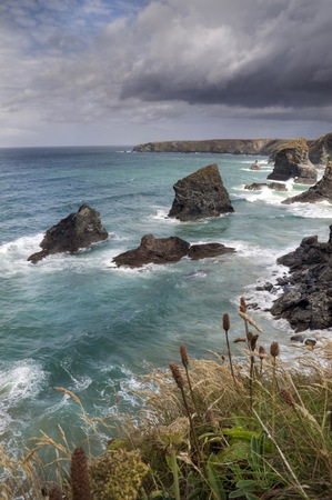 Looking down on Bedruthan Steps, Cornwall, England. photo