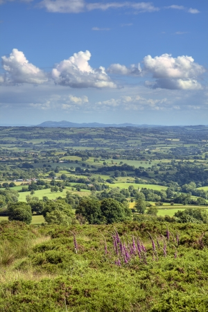 View from Clee Hill over Worcestershire landscape, England. photo
