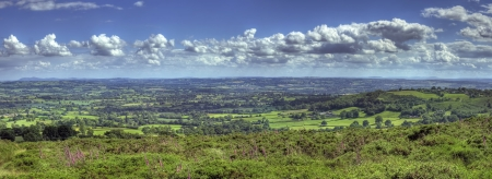 worcestershire: View from Clee Hill over Worcestershire landscape, England. Stock Photo