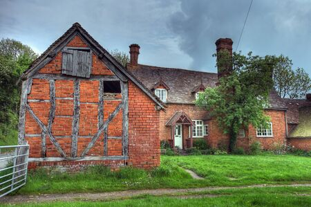 worcestershire: Timber-framed and brick farmhouse, Worcestershire, England.