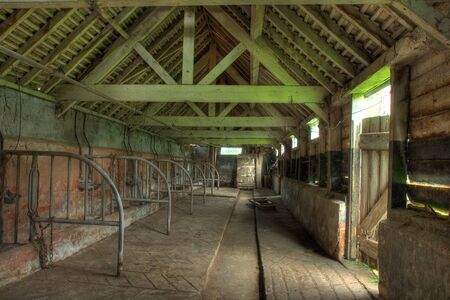 worcestershire: Interior view of old cowshed, Worcestershire, England.