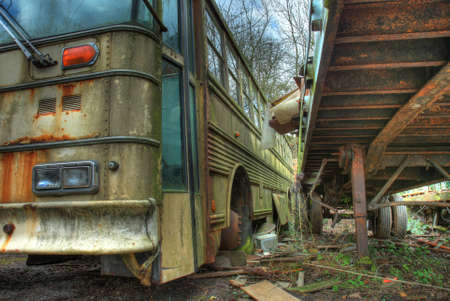 scrapyard: Old coach and trailer at scrapyard, Worcestershire, England.