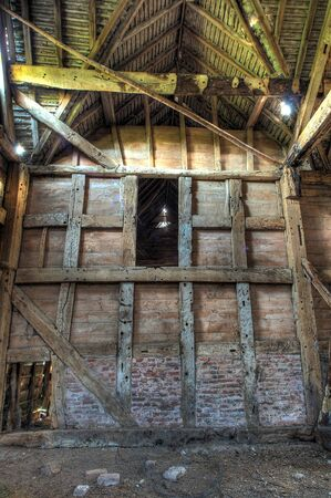 worcestershire: Large timber-framed and brick hay barn, Worcestershire, England.