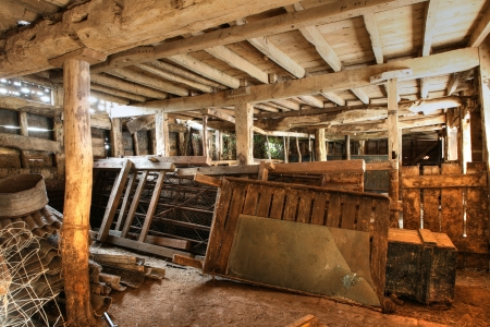 worcestershire: Traditional timber-framed cowshed, Worcestershire, England. Stock Photo