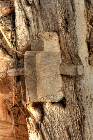 tenon: Mortise and Tenon pegged joint detail. Old Worcestershire barn, England.