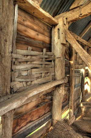 wattle: Interior of timber-framed barn showing wattle infill detail, Worcestershire, England.