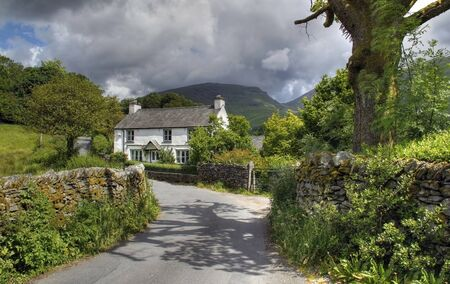 lake district england: Pretty Cumbrian cottage near Grasmere, The Lake District, England. Stock Photo