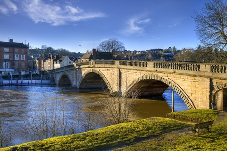 worcestershire: The old bridge spanning the River Severn at Bewdley, Worcestershire, England
