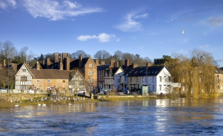 worcestershire: High water levels on the River Severn, Bewdley, Worcestershire, England