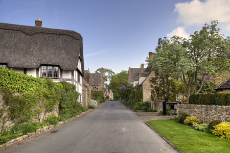 gloucestershire: Cotswold cottages in the Gloucestershire village of Stanton, England  Stock Photo