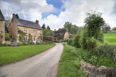 gloucestershire: The pretty village of Stanton in Springtime, Cotswolds, Gloucestershire, England  Stock Photo